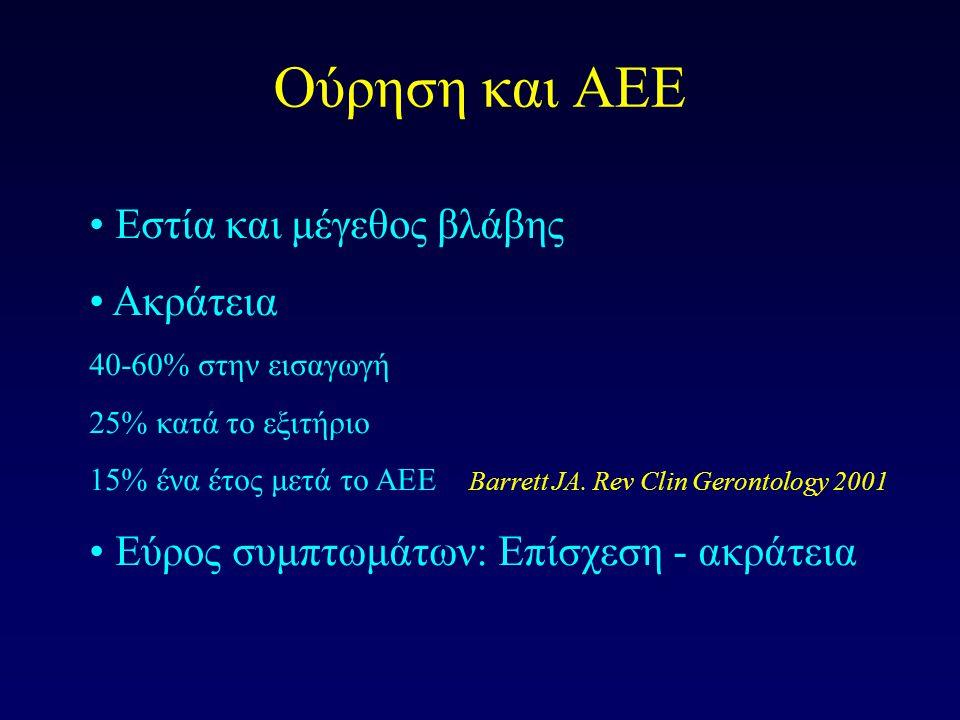 Ούρηση και ΑΕΕ Εστία και μέγεθος βλάβης Ακράτεια 40-60% στην εισαγωγή 25% κατά το εξιτήριο 15% ένα έτος μετά το ΑΕΕ Barrett JA. Rev Clin Gerontology 2