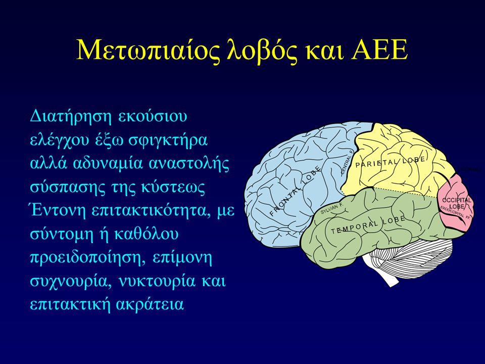 Βρεγματικός λοβός & ΑΕΕ Εγκεφαλικά ημισφαίρια και ΑΕΕ Διαταραχές ούρησης κυρίως δευτερογενώς λόγω περιορισμού κινητικότητας και εξάρτησης από άλλους Αδυναμία αναστολής συσπάσεων κύστεως Ταυτόχρονης σύσπασης κύστεως και σφιγκτήρα «ψευδοδυσσυνέργεια»  Αποφρακτική ούρηση  Ακράτεια από υπερπλήρωση  Παλινδρόμηση – βλάβη νεφρών