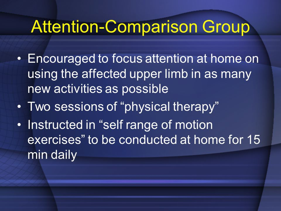 Attention-Comparison Group Encouraged to focus attention at home on using the affected upper limb in as many new activities as possible Two sessions o