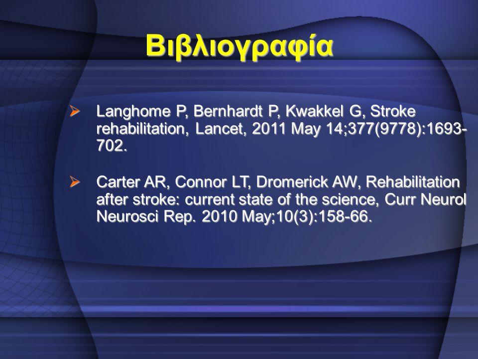 Βιβλιογραφία  Langhome P, Bernhardt P, Kwakkel G, Stroke rehabilitation, Lancet, 2011 May 14;377(9778):1693- 702.  Carter AR, Connor LT, Dromerick A