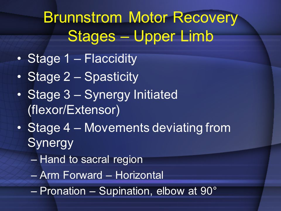 Brunnstrom Motor Recovery Stages – Upper Limb Stage 1 – Flaccidity Stage 2 – Spasticity Stage 3 – Synergy Initiated (flexor/Extensor) Stage 4 – Moveme
