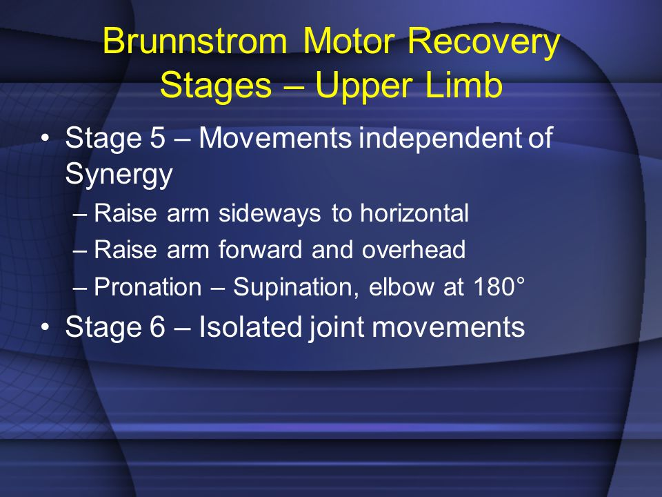 Brunnstrom Motor Recovery Stages – Upper Limb Stage 5 – Movements independent of Synergy –Raise arm sideways to horizontal –Raise arm forward and over