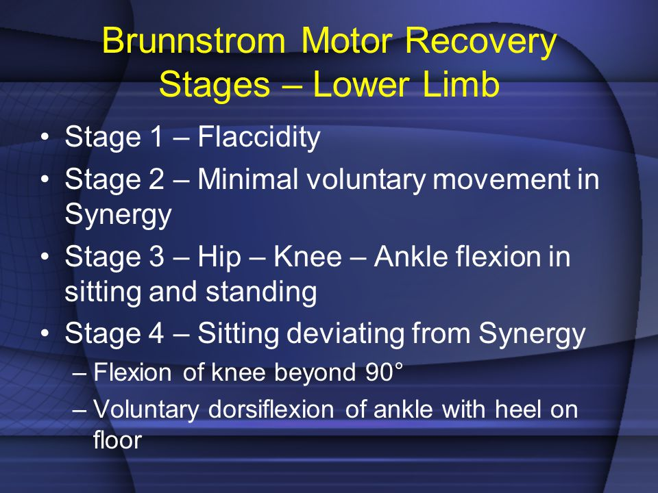 Brunnstrom Motor Recovery Stages – Lower Limb Stage 1 – Flaccidity Stage 2 – Minimal voluntary movement in Synergy Stage 3 – Hip – Knee – Ankle flexio