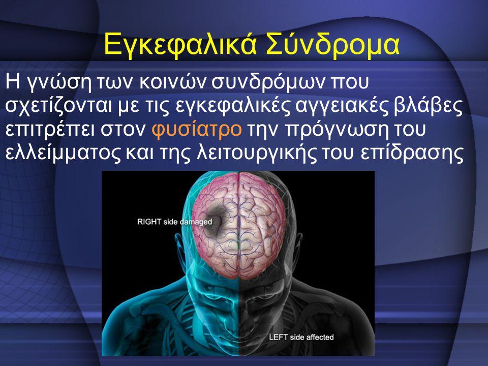 Εγκεφαλικά Σύνδρομα Η γνώση των κοινών συνδρόμων που σχετίζονται με τις εγκεφαλικές αγγειακές βλάβες επιτρέπει στον φυσίατρο την πρόγνωση του ελλείμμα