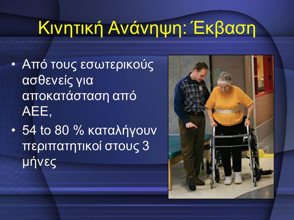 Κινητική Ανάνηψη: Έκβαση Από τους εσωτερικούς ασθενείς για αποκατάσταση από ΑΕΕ, 54 to 80 % καταλήγουν περιπατητικοί στους 3 μήνες