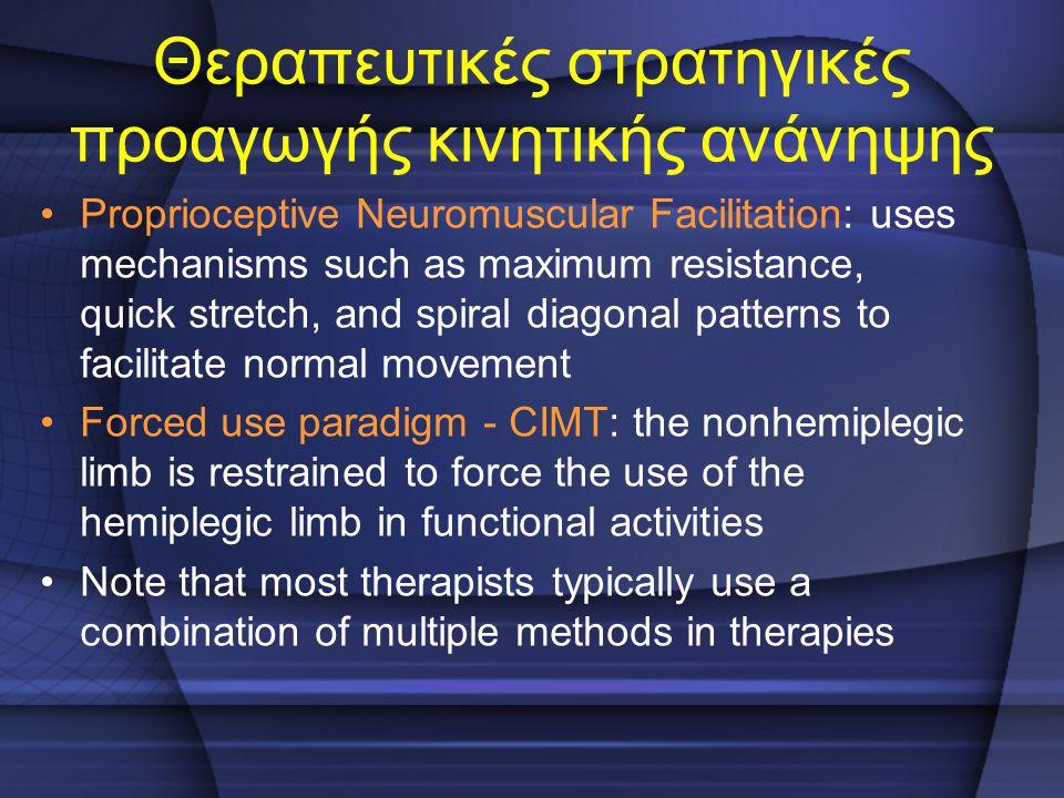 Θεραπευτικές στρατηγικές προαγωγής κινητικής ανάνηψης Proprioceptive Neuromuscular Facilitation: uses mechanisms such as maximum resistance, quick str