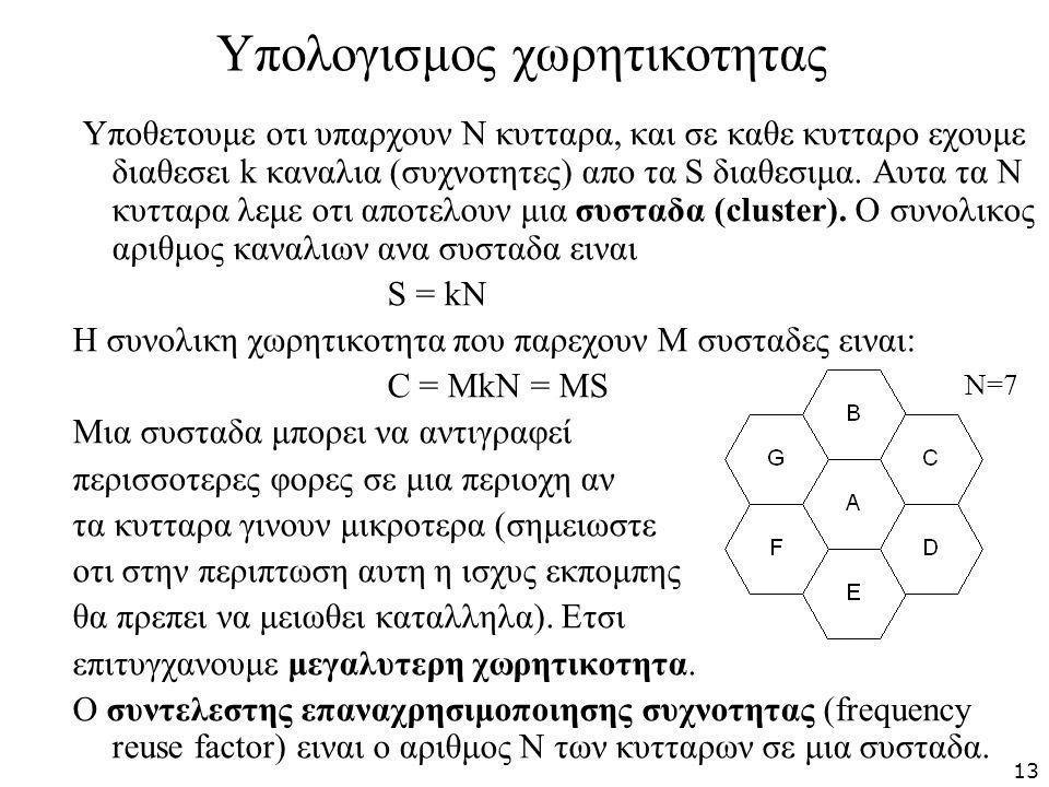Υπολογισμος χωρητικοτητας Υποθετουμε οτι υπαρχουν Ν κυτταρα, και σε καθε κυτταρο εχουμε διαθεσει k καναλια (συχνοτητες) απο τα S διαθεσιμα. Αυτα τα Ν