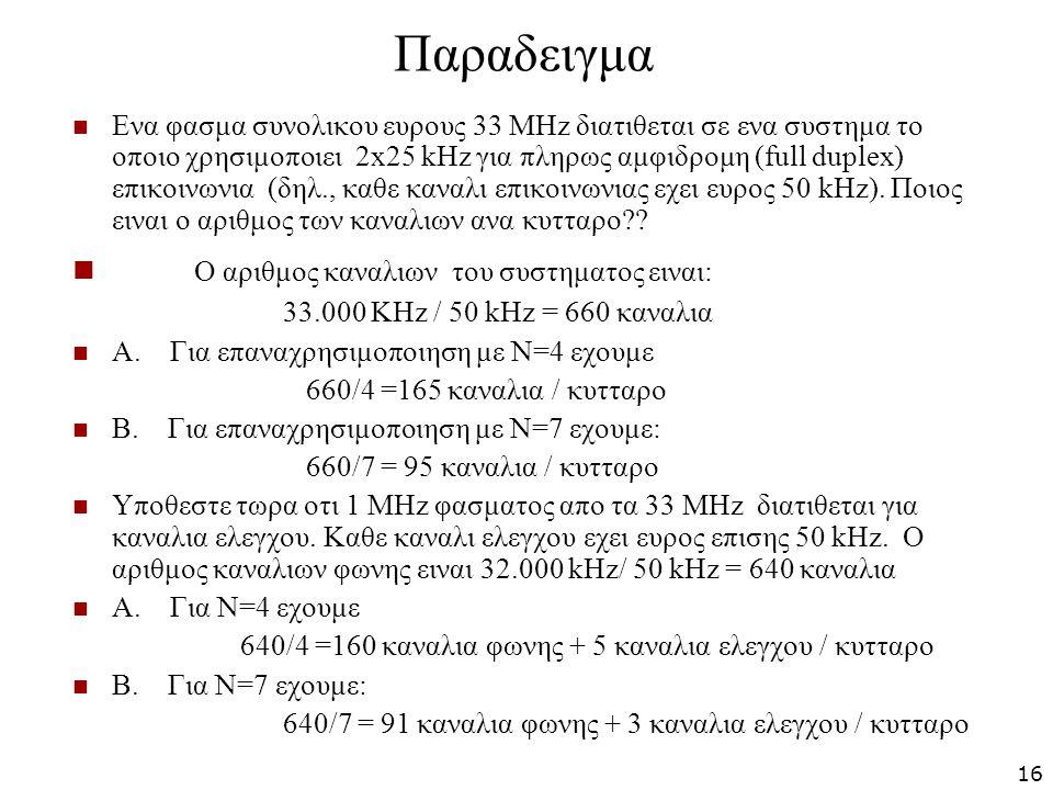 Παραδειγμα Ενα φασμα συνολικου ευρους 33 MHz διατιθεται σε ενα συστημα το οποιο χρησιμοποιει 2x25 kHz για πληρως αμφιδρομη (full duplex) επικοινωνια (