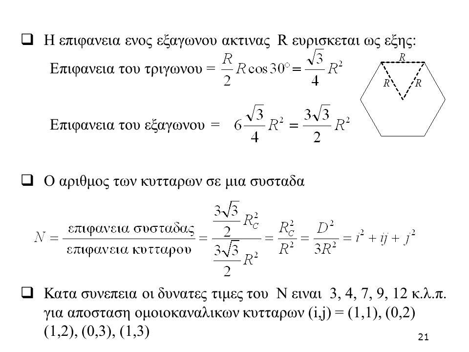  H επιφανεια ενος εξαγωνου ακτινας R ευρισκεται ως εξης: Επιφανεια του τριγωνου = Επιφανεια του εξαγωνου =  Ο αριθμος των κυτταρων σε μια συσταδα 