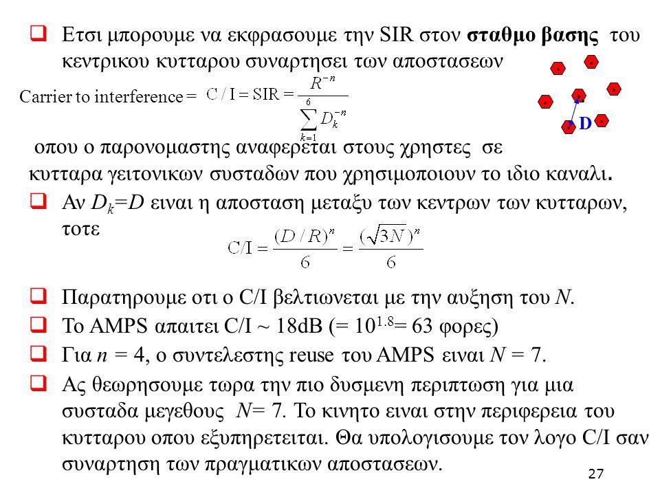  Ετσι μπορουμε να εκφρασουμε την SIR στον σταθμο βασης του κεντρικου κυτταρου συναρτησει των αποστασεων οπου ο παρονομαστης αναφερεται στους χρηστες
