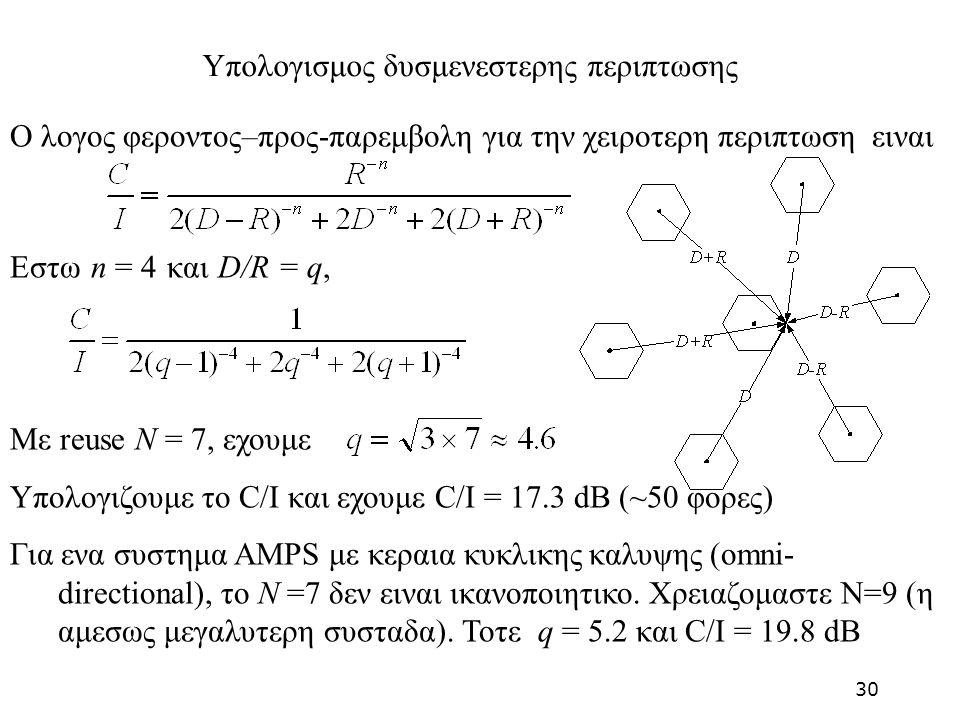 Ο λογος φεροντος–προς-παρεμβολη για την χειροτερη περιπτωση ειναι Εστω n = 4 και D/R = q, Με reuse N = 7, εχουμε Υπολογιζουμε το C/I και εχουμε C/I =