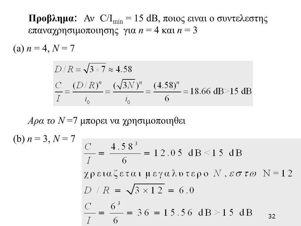 Προβλημα : Αν C/I min = 15 dB, ποιος ειναι ο συντελεστης επαναχρησιμοποιησης για n = 4 και n = 3 (a) n = 4, N = 7 Αρα το N =7 μπορει να χρησιμοποιηθει