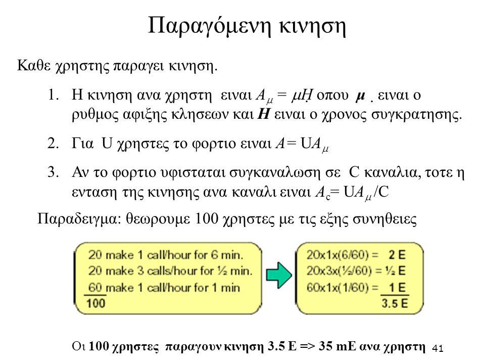 Καθε χρηστης παραγει κινηση. 1.Η κινηση ανα χρηστη ειναι A  =  H οπου μ ειναι ο ρυθμος αφιξης κλησεων και H ειναι ο χρονος συγκρατησης. 2.Για U χρ