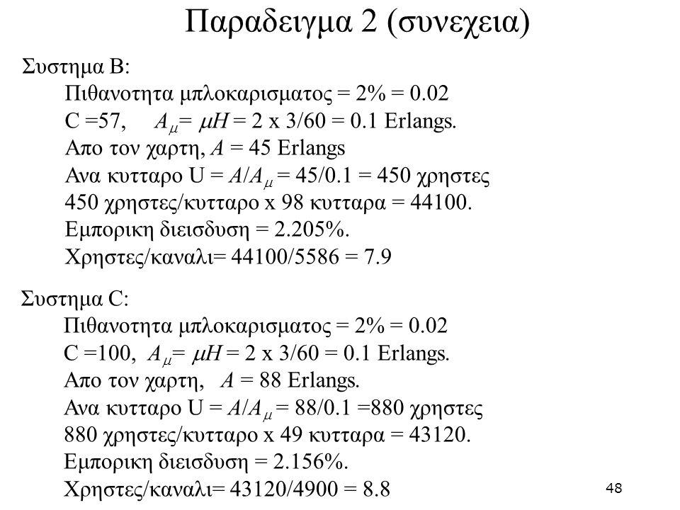 Συστημα C: Πιθανοτητα μπλοκαρισματος = 2% = 0.02 C =100, A  =  H = 2 x 3/60 = 0.1 Erlangs. Απο τον χαρτη, A = 88 Erlangs. Ανα κυτταρο U = A/A  = 88