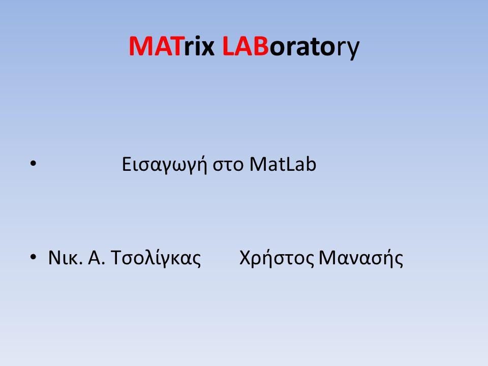 MATrix LABoratory Εισαγωγή στο MatLab Νικ. Α. Τσολίγκας Χρήστος Μανασής
