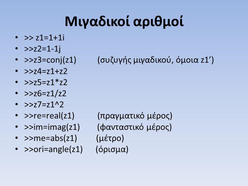 Μιγαδικοί αριθμοί >> z1=1+1i >>z2=1-1j >>z3=conj(z1) (συζυγής μιγαδικού, όμοια z1') >>z4=z1+z2 >>z5=z1*z2 >>z6=z1/z2 >>z7=z1^2 >>re=real(z1) (πραγματι