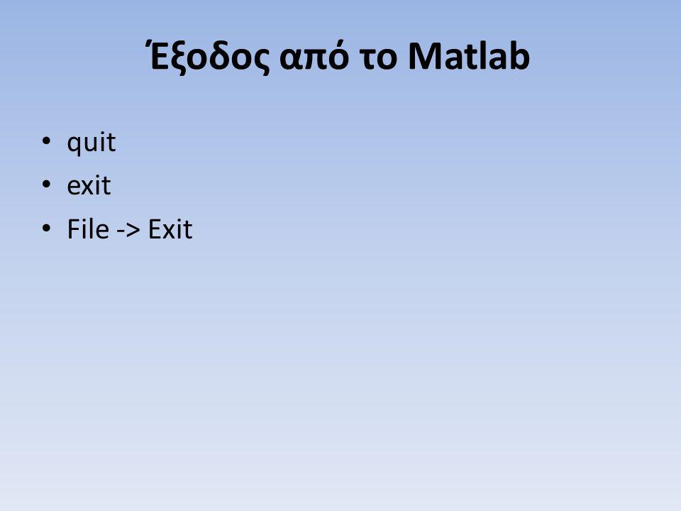 Έξοδος από το Matlab quit exit File -> Exit