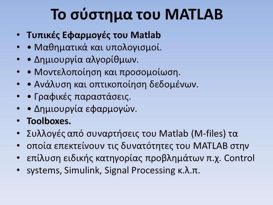 Το σύστημα του MATLAB Τυπικές Εφαρμογές του Matlab Μαθηματικά και υπολογισμοί. Δημιουργία αλγορίθμων. Μοντελοποίηση και προσομοίωση. Ανάλυση και οπτικ