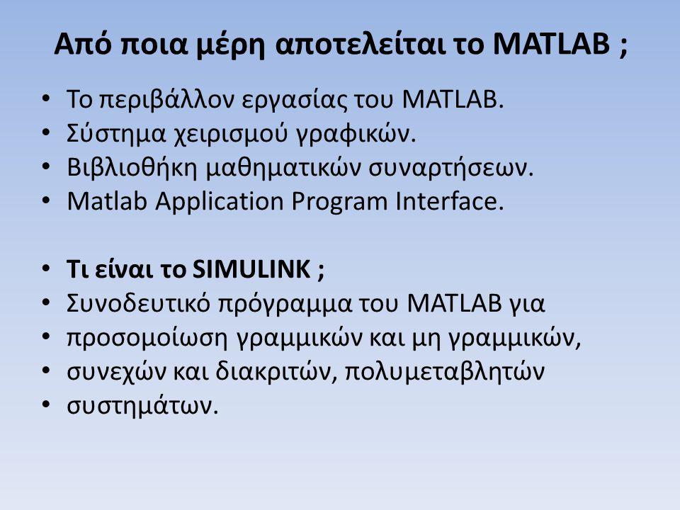 Από ποια μέρη αποτελείται το MATLAB ; Το περιβάλλον εργασίας του MATLAB. Σύστημα χειρισμού γραφικών. Βιβλιοθήκη μαθηματικών συναρτήσεων. Matlab Applic