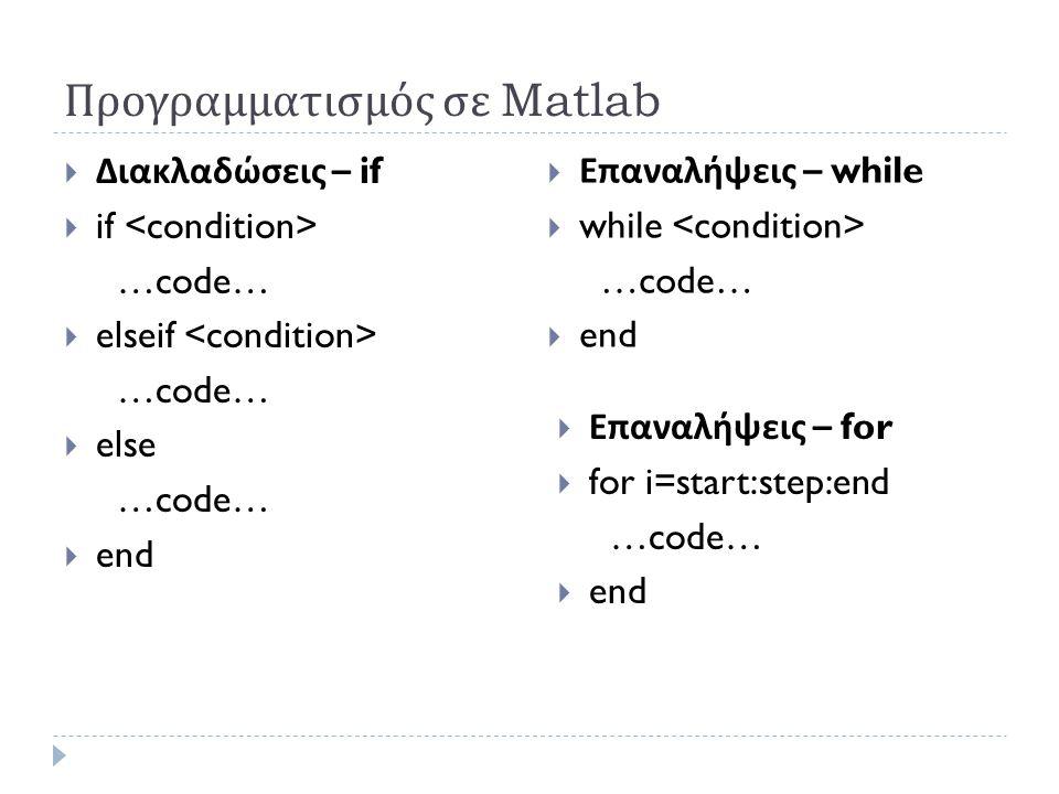 Προγραμματισμός σε Matlab  Διακλαδώσεις – if  if …code…  elseif …code…  else …code…  end  Επαναλήψεις – while  while …code…  end  Επαναλήψεις – for  for i=start:step:end …code…  end