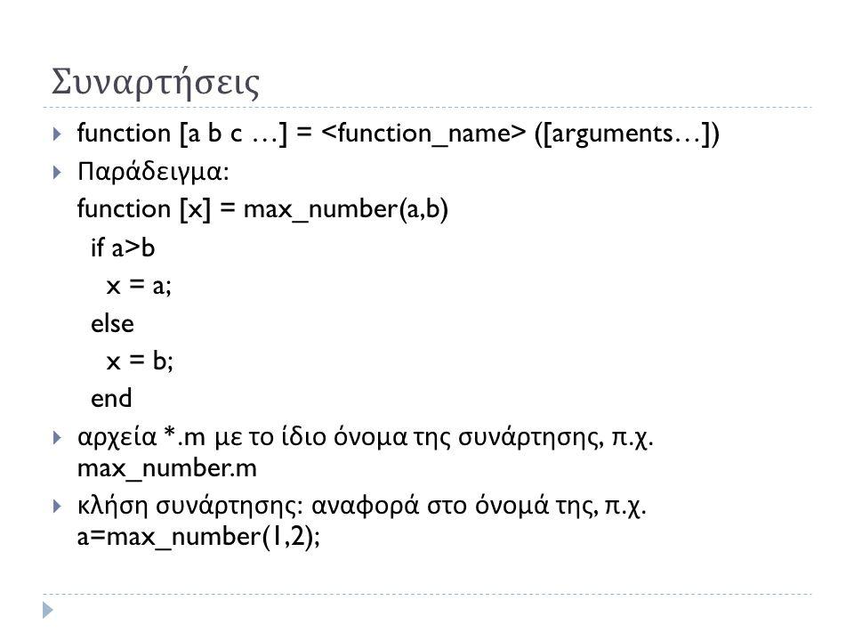Συναρτήσεις  function [a b c …] = ([arguments…])  Παράδειγμα : function [x] = max_number(a,b) if a>b x = a; else x = b; end  αρχεία *.m με το ίδιο όνομα της συνάρτησης, π.