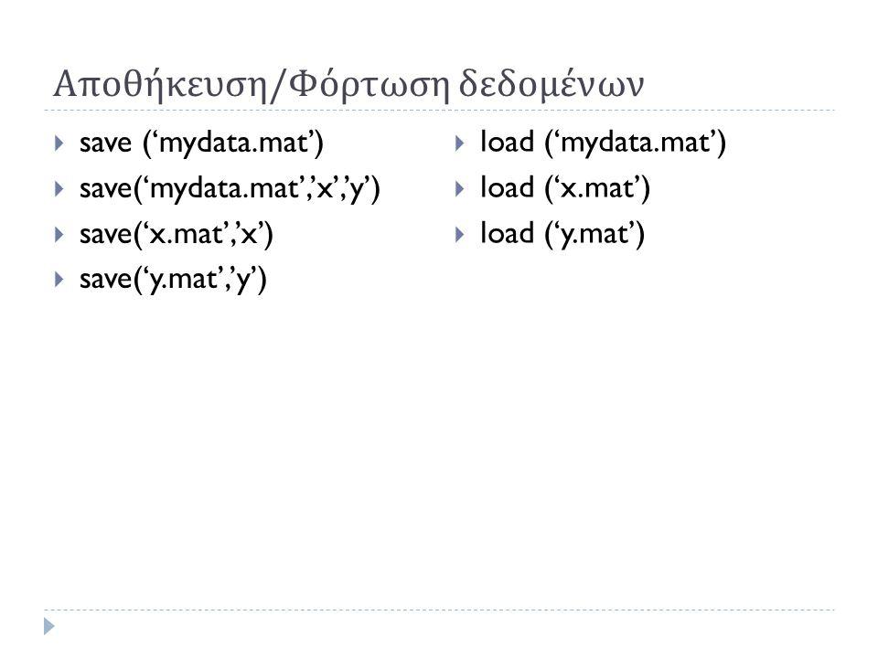 Αποθήκευση / Φόρτωση δεδομένων  save ('mydata.mat')  save('mydata.mat','x','y')  save('x.mat','x')  save('y.mat','y')  load ('mydata.mat')  load ('x.mat')  load ('y.mat')