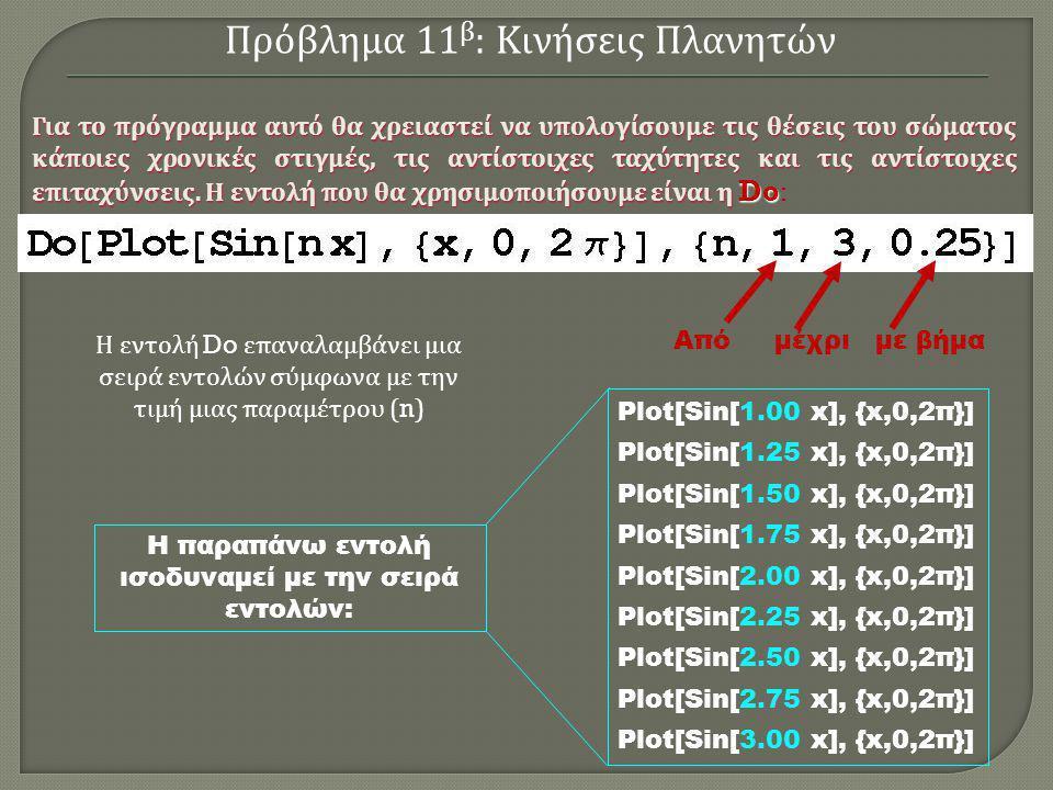 Plot[Sin[1.00 x], {x,0,2π}] Plot[Sin[1.25 x], {x,0,2π}] Plot[Sin[1.50 x], {x,0,2π}] Plot[Sin[1.75 x], {x,0,2π}] Plot[Sin[2.00 x], {x,0,2π}] Plot[Sin[2.25 x], {x,0,2π}] Plot[Sin[2.50 x], {x,0,2π}] Plot[Sin[2.75 x], {x,0,2π}] Plot[Sin[3.00 x], {x,0,2π}] Η παραπάνω εντολή ισοδυναμεί με την σειρά εντολών: Πρόβλημα 11 β : Κινήσεις Πλανητών Η εντολή Do επαναλαμβάνει μια σειρά εντολών σύμφωνα με την τιμή μιας παραμέτρου (n) Από μέχρι με βήμα Για το πρόγραμμα αυτό θα χρειαστεί να υπολογίσουμε τις θέσεις του σώματος κάποιες χρονικές στιγμές, τις αντίστοιχες ταχύτητες και τις αντίστοιχες επιταχύνσεις.