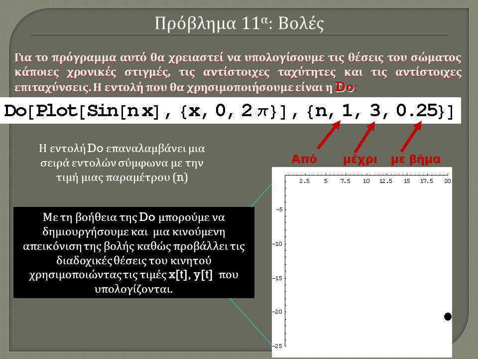 Η εντολή Do επαναλαμβάνει μια σειρά εντολών σύμφωνα με την τιμή μιας παραμέτρου (n) Από μέχρι με βήμα Plot[Sin[1.00 x], {x,0,2π}] Plot[Sin[1.25 x], {x,0,2π}] Plot[Sin[1.50 x], {x,0,2π}] Plot[Sin[1.75 x], {x,0,2π}] Plot[Sin[2.00 x], {x,0,2π}] Plot[Sin[2.25 x], {x,0,2π}] Plot[Sin[2.50 x], {x,0,2π}] Plot[Sin[2.75 x], {x,0,2π}] Plot[Sin[3.00 x], {x,0,2π}] Η παραπάνω εντολή ισοδυναμεί με την σειρά εντολών: Πρόβλημα 11 α : Βολές Για το πρόγραμμα αυτό θα χρειαστεί να υπολογίσουμε τις θέσεις του σώματος κάποιες χρονικές στιγμές, τις αντίστοιχες ταχύτητες και τις αντίστοιχες επιταχύνσεις.
