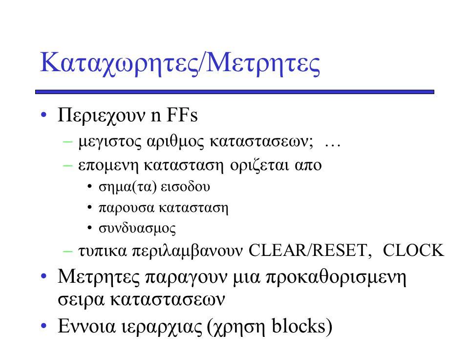 Καταχωρητες/Μετρητες Περιεχουν n FFs –μεγιστος αριθμος καταστασεων; … –επομενη κατασταση οριζεται απο σημα(τα) εισοδου παρουσα κατασταση συνδυασμος –τυπικα περιλαμβανουν CLEAR/RESET, CLOCK Mετρητες παραγουν μια προκαθορισμενη σειρα καταστασεων Εννοια ιεραρχιας (χρηση blocks)