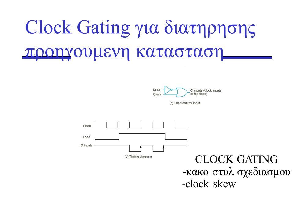 CLOCK GATING -κακο στυλ σχεδιασμου -clock skew