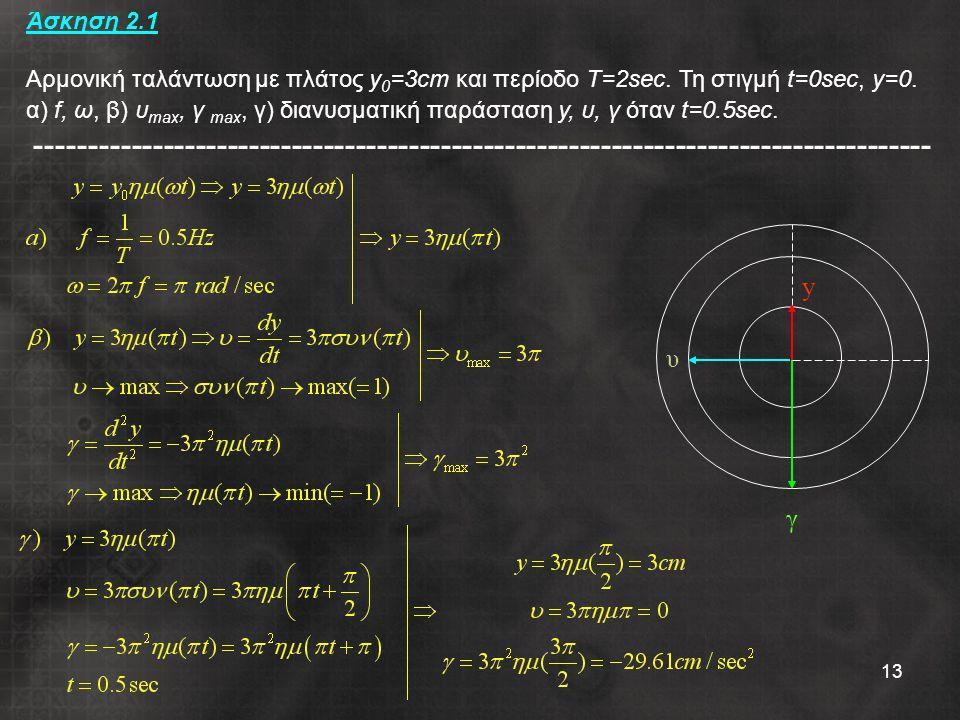 13 Άσκηση 2.1 Αρμονική ταλάντωση με πλάτος y 0 =3cm και περίοδο Τ=2sec. Τη στιγμή t=0sec, y=0. α) f, ω, β) υ max, γ max, γ) διανυσματική παράσταση y,
