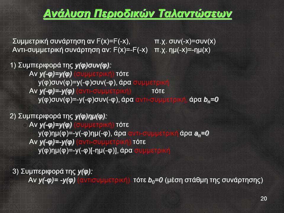 20 Ανάλυση Περιοδικών Ταλαντώσεων Συμμετρική συνάρτηση αν F(x)=F(-x), π.χ. συν(-x)=συν(x) Αντι-συμμετρική συνάρτηση αν: F(x)=-F(-x)π.χ. ημ(-x)=-ημ(x)