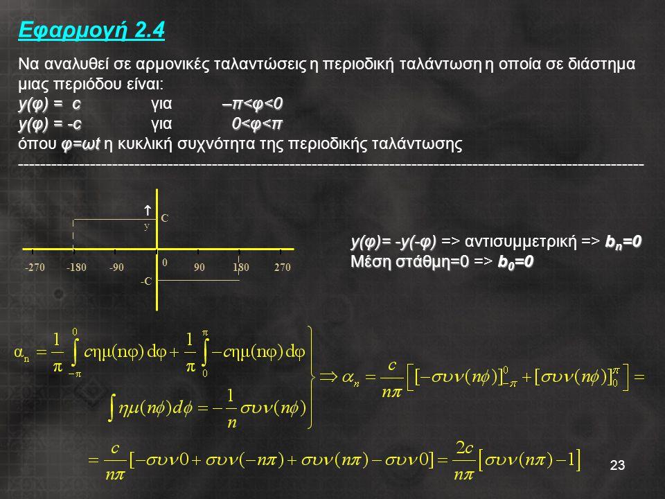 23 y(φ) = c–π<φ<0 y(φ) = -c0<φ<π φ=ωt Εφαρμογή 2.4 Να αναλυθεί σε αρμονικές ταλαντώσεις η περιοδική ταλάντωση η οποία σε διάστημα μιας περιόδου είναι: y(φ) = c για –π<φ<0 y(φ) = -c για 0<φ<π όπου φ=ωt η κυκλική συχνότητα της περιοδικής ταλάντωσης ----------------------------------------------------------------------------------------------------------------- -270-180-90 0 90180270 yy C -C-C y(φ)= -y(-φ)b n =0 y(φ)= -y(-φ) => αντισυμμετρική => b n =0 Μέση στάθμη=0b 0 =0 Μέση στάθμη=0 => b 0 =0