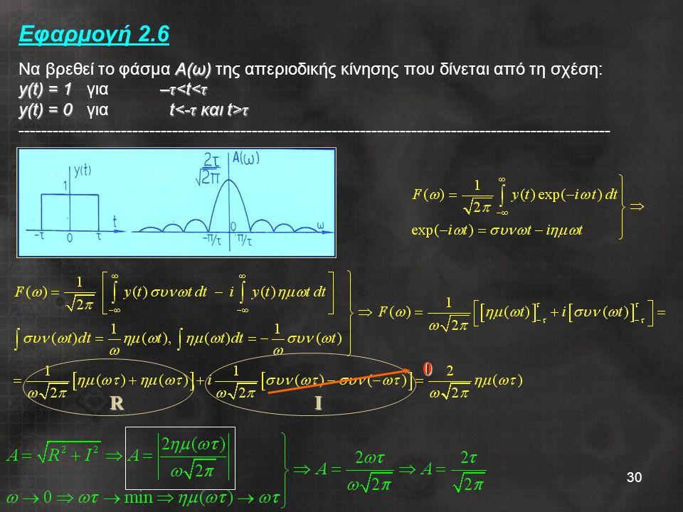 30 Α(ω) y(t) = 1– τ τ Εφαρμογή 2.6 Να βρεθεί το φάσμα Α(ω) της απεριοδικής κίνησης που δίνεται από τη σχέση: y(t) = 1 για – τ τ ----------------------