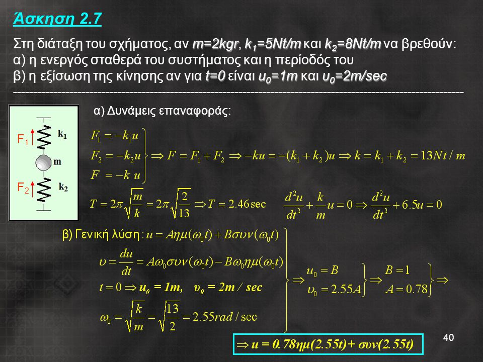 40 m=2kgrk 1 =5Nt/mk 2 =8Nt/m t=0u 0 =1mυ 0 =2m/sec Άσκηση 2.7 Στη διάταξη του σχήματος, αν m=2kgr, k 1 =5Nt/m και k 2 =8Nt/m να βρεθούν: α) η ενεργός σταθερά του συστήματος και η περίοδός του β) η εξίσωση της κίνησης αν για t=0 είναι u 0 =1m και υ 0 =2m/sec ---------------------------------------------------------------------------------------------------------------- α) Δυνάμεις επαναφοράς: F1F1 F2F2