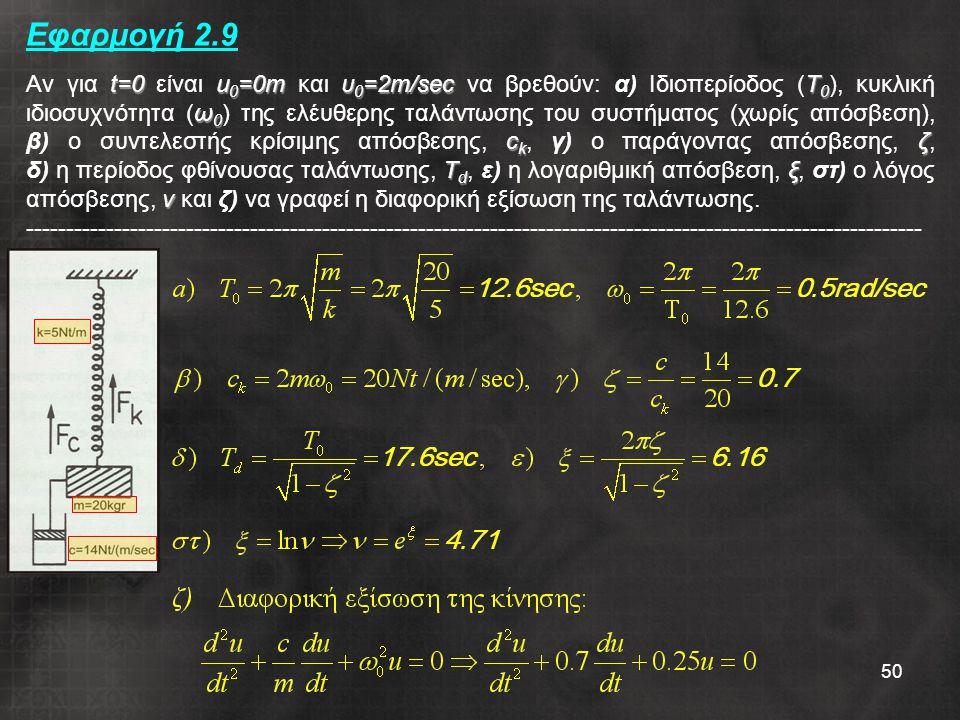 50 Εφαρμογή 2.9 t=0u 0 =0mυ 0 =2m/secΤ 0 ω 0 c k ζ Τ d ξ ν Αν για t=0 είναι u 0 =0m και υ 0 =2m/sec να βρεθούν: α) Ιδιοπερίοδος (Τ 0 ), κυκλική ιδιοσυχνότητα (ω 0 ) της ελέυθερης ταλάντωσης του συστήματος (χωρίς απόσβεση), β) ο συντελεστής κρίσιμης απόσβεσης, c k, γ) ο παράγοντας απόσβεσης, ζ, δ) η περίοδος φθίνουσας ταλάντωσης, Τ d, ε) η λογαριθμική απόσβεση, ξ, στ) ο λόγος απόσβεσης, ν και ζ) να γραφεί η διαφορική εξίσωση της ταλάντωσης.