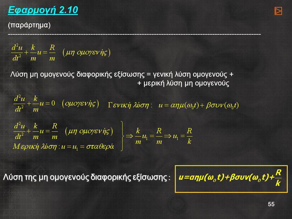 55 Εφαρμογή 2.10 (παράρτημα) -------------------------------------------------------------------------------------------------------- Λύση μη ομογενούς διαφορικής εξίσωσης = γενική λύση ομογενούς + + μερική λύση μη ομογενούς Λύση της μη ομογενούς διαφορικής εξίσωσης :