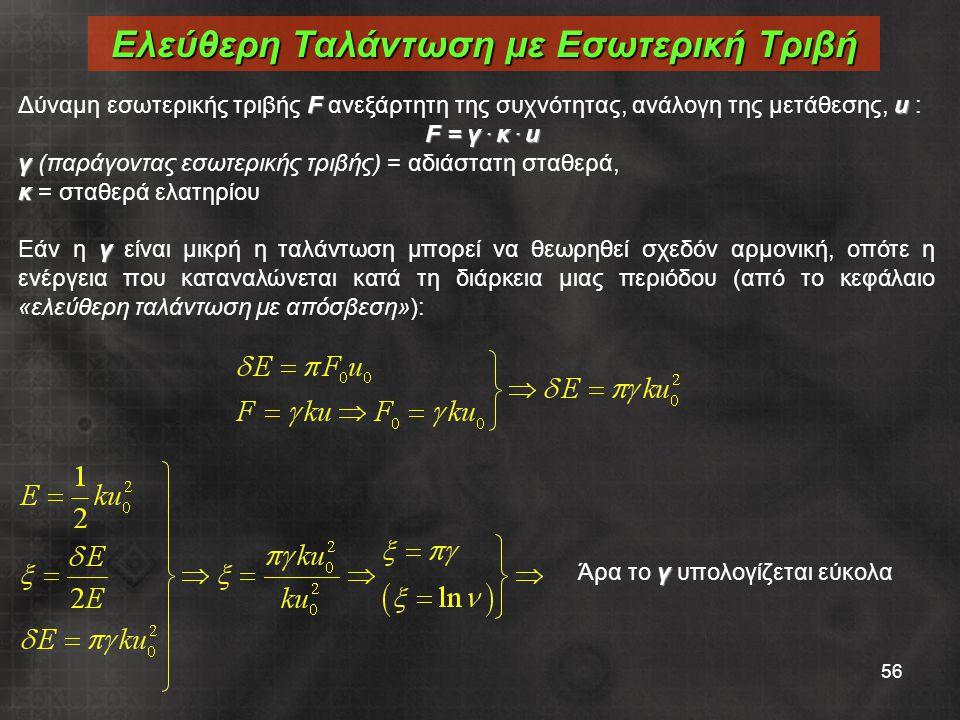 56 Fu Δύναμη εσωτερικής τριβής F ανεξάρτητη της συχνότητας, ανάλογη της μετάθεσης, u : F = γ. κ. u γ γ (παράγοντας εσωτερικής τριβής) = αδιάστατη σταθ