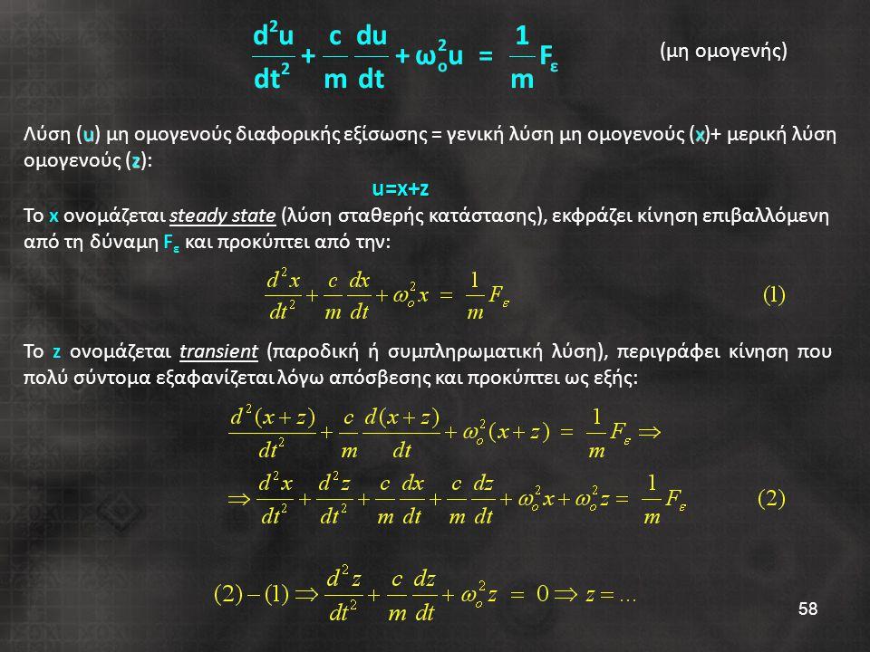 58 Το z ονομάζεται transient (παροδική ή συμπληρωματική λύση), περιγράφει κίνηση που πολύ σύντομα εξαφανίζεται λόγω απόσβεσης και προκύπτει ως εξής: ux z Λύση (u) μη ομογενούς διαφορικής εξίσωσης = γενική λύση μη ομογενούς (x)+ μερική λύση ομογενούς (z):u=x+z Το x ονομάζεται steady state (λύση σταθερής κατάστασης), εκφράζει κίνηση επιβαλλόμενη από τη δύναμη F ε και προκύπτει από την: (μη ομογενής)