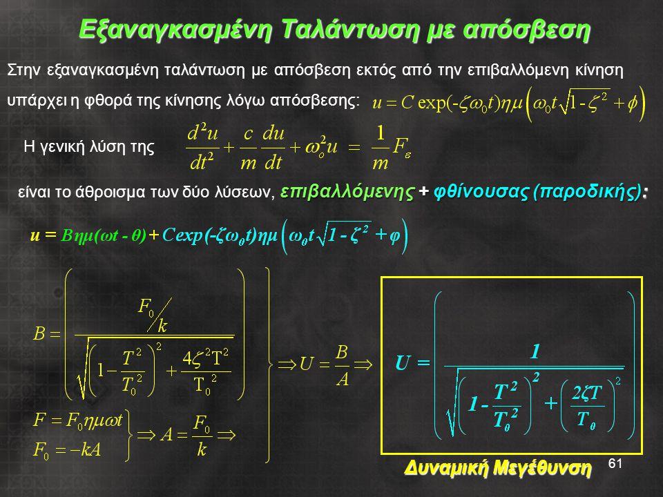 61 Στην εξαναγκασμένη ταλάντωση με απόσβεση εκτός από την επιβαλλόμενη κίνηση υπάρχει η φθορά της κίνησης λόγω απόσβεσης: επιβαλλόμενης + φθίνουσας (παροδικής): είναι το άθροισμα των δύο λύσεων, επιβαλλόμενης + φθίνουσας (παροδικής): Εξαναγκασμένη Ταλάντωση με απόσβεση Δυναμική Μεγέθυνση Η γενική λύση της