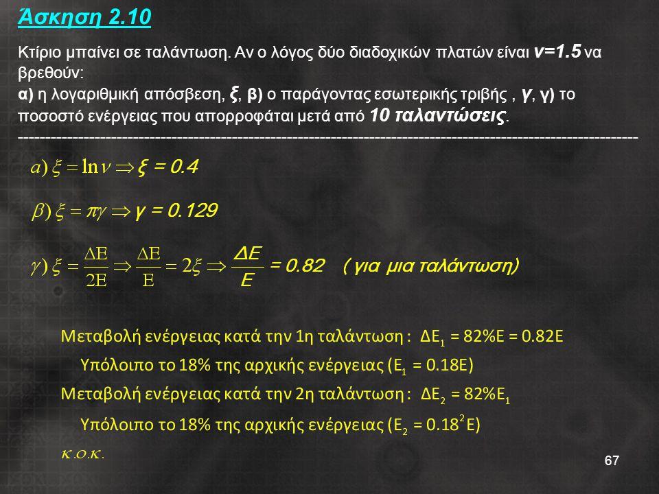 67 Άσκηση 2.10 Κτίριο μπαίνει σε ταλάντωση. Αν ο λόγος δύο διαδοχικών πλατών είναι ν=1.5 να βρεθούν: α) η λογαριθμική απόσβεση, ξ, β) ο παράγοντας εσω