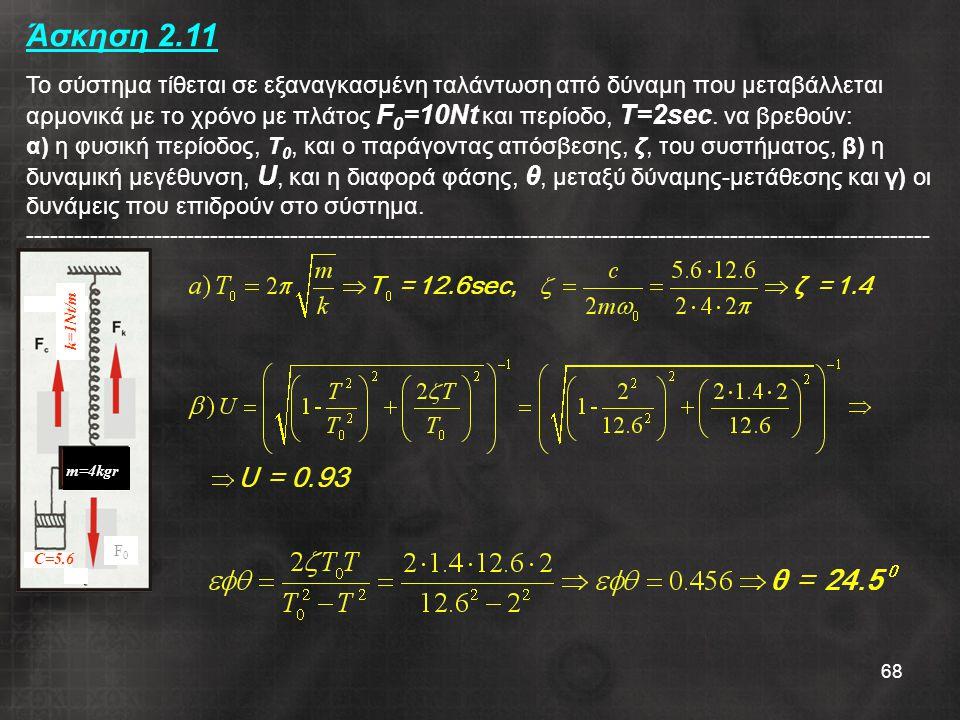 68 Άσκηση 2.11 Το σύστημα τίθεται σε εξαναγκασμένη ταλάντωση από δύναμη που μεταβάλλεται αρμονικά με το χρόνο με πλάτος F 0 =10Nt και περίοδο, T=2sec.