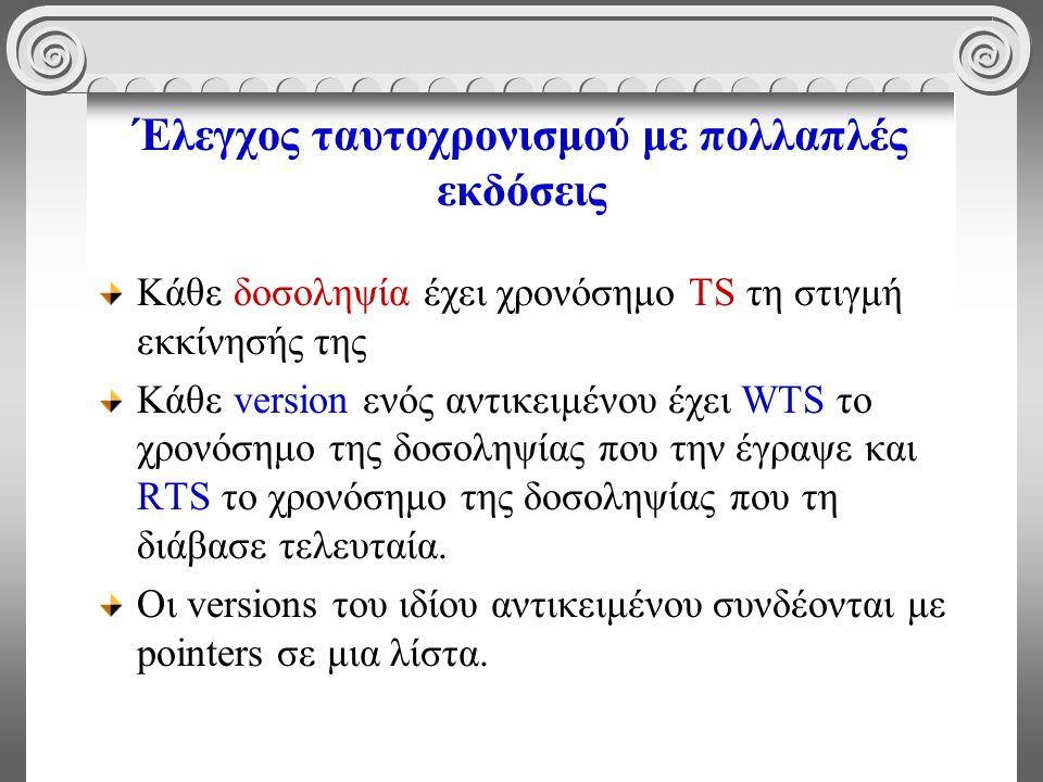 Έλεγχος ταυτοχρονισμού με πολλαπλές εκδόσεις Κάθε δοσοληψία έχει χρονόσημο TS τη στιγμή εκκίνησής της Κάθε version ενός αντικειμένου έχει WTS το χρονόσημο της δοσοληψίας που την έγραψε και RTS το χρονόσημο της δοσοληψίας που τη διάβασε τελευταία.