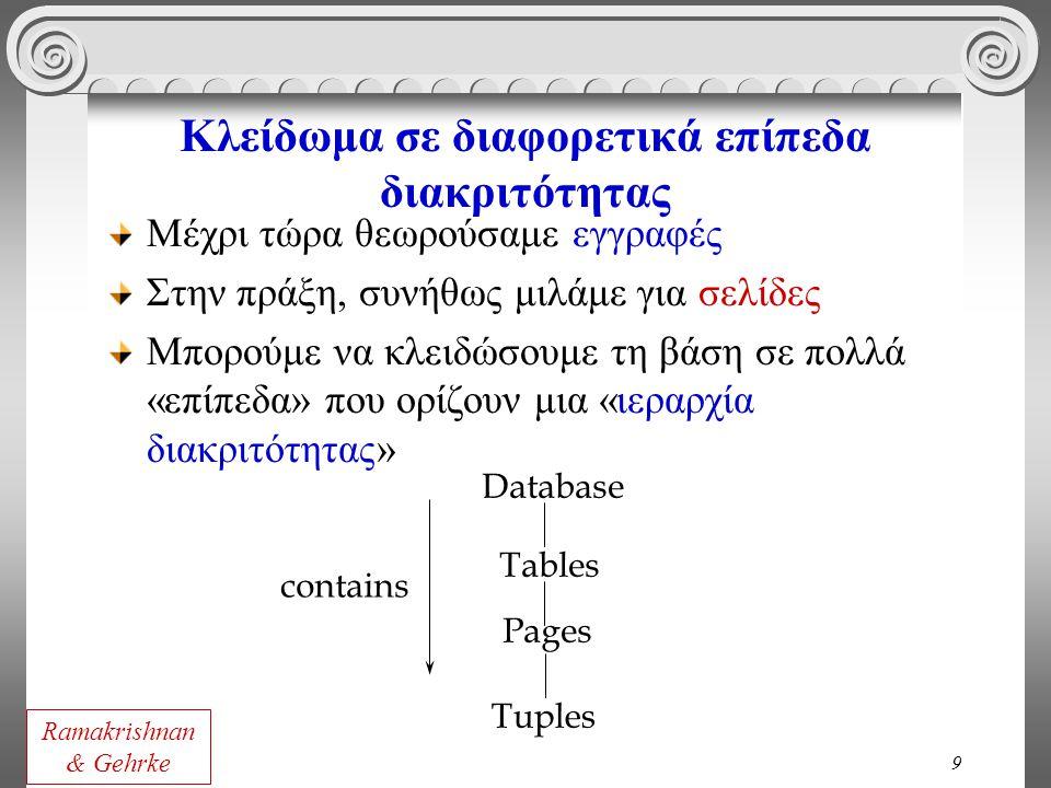 9 Κλείδωμα σε διαφορετικά επίπεδα διακριτότητας Μέχρι τώρα θεωρούσαμε εγγραφές Στην πράξη, συνήθως μιλάμε για σελίδες Μπορούμε να κλειδώσουμε τη βάση σε πολλά «επίπεδα» που ορίζουν μια «ιεραρχία διακριτότητας» Tuples Tables Pages Database contains Ramakrishnan & Gehrke