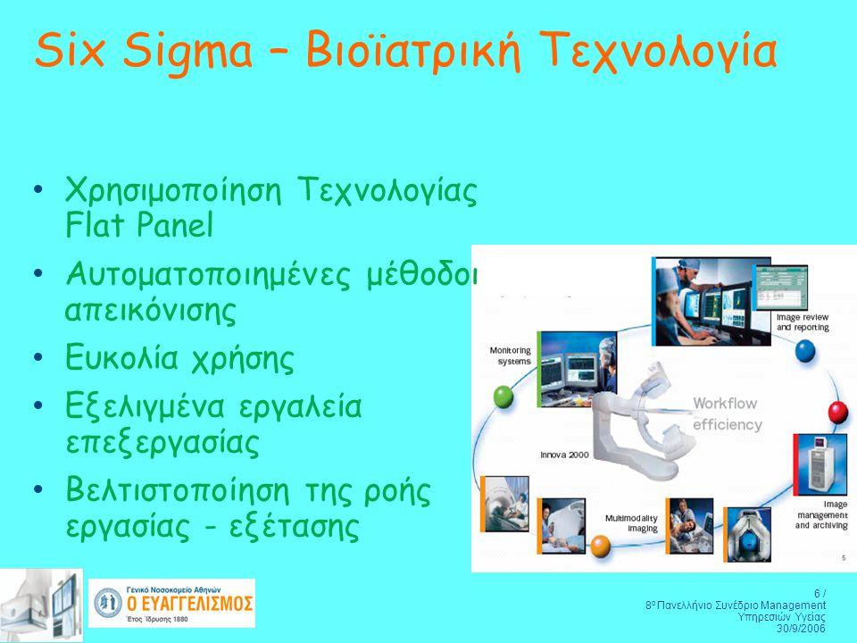 6 / 8 ο Πανελλήνιο Συνέδριο Management Υπηρεσιών Υγείας 30/9/2006 Χρησιμοποίηση Τεχνολογίας Flat Panel Αυτοματοποιημένες μέθοδοι απεικόνισης Ευκολία χρήσης Εξελιγμένα εργαλεία επεξεργασίας Βελτιστοποίηση της ροής εργασίας - εξέτασης Six Sigma – Βιοϊατρική Τεχνολογία