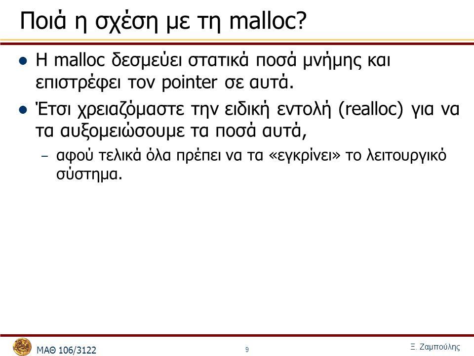 MΑΘ 106/3122 Ξ. Ζαμπούλης 9 Ποιά η σχέση με τη malloc.