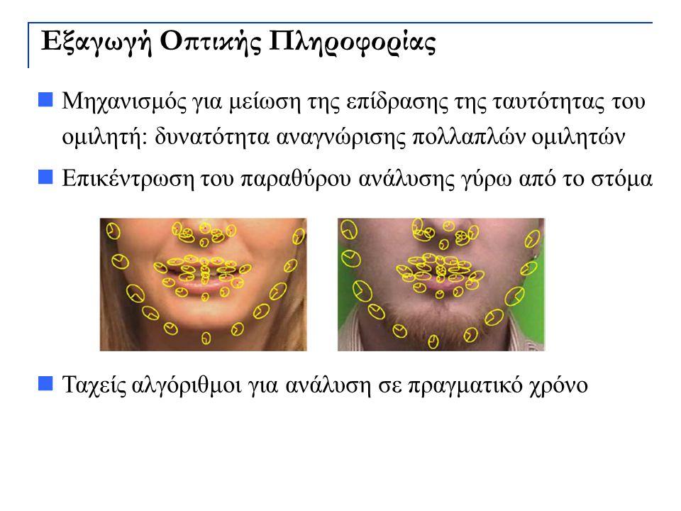 Εξαγωγή Οπτικής Πληροφορίας Μηχανισμός για μείωση της επίδρασης της ταυτότητας του ομιλητή: δυνατότητα αναγνώρισης πολλαπλών ομιλητών Επικέντρωση του