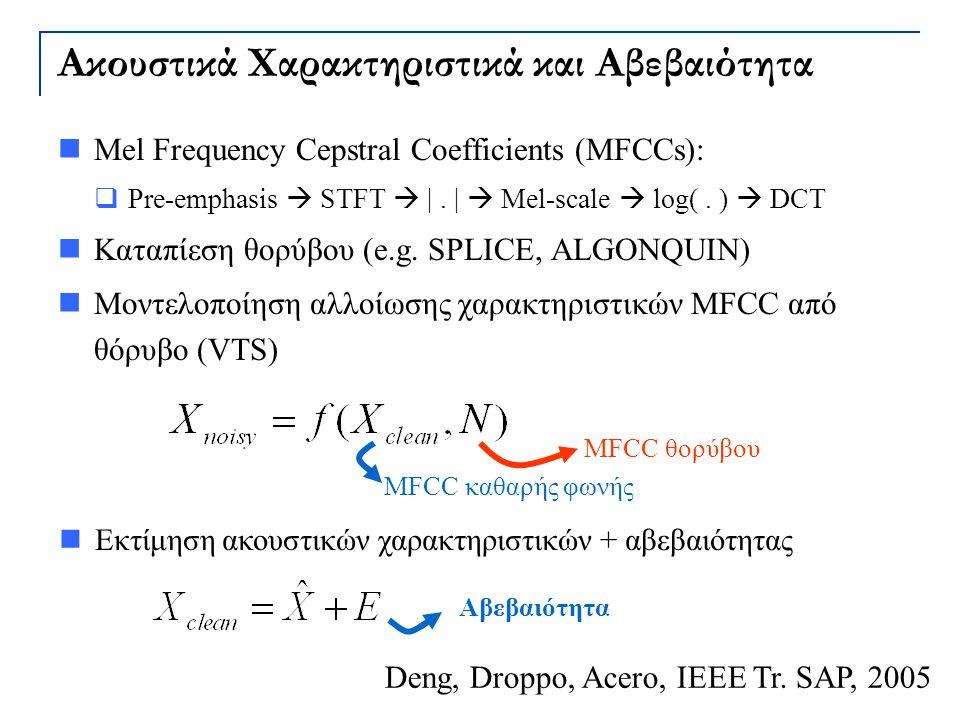 Ακουστικά Χαρακτηριστικά και Αβεβαιότητα Mel Frequency Cepstral Coefficients (MFCCs):  Pre-emphasis  STFT  |. |  Mel-scale  log(. )  DCT Καταπίε