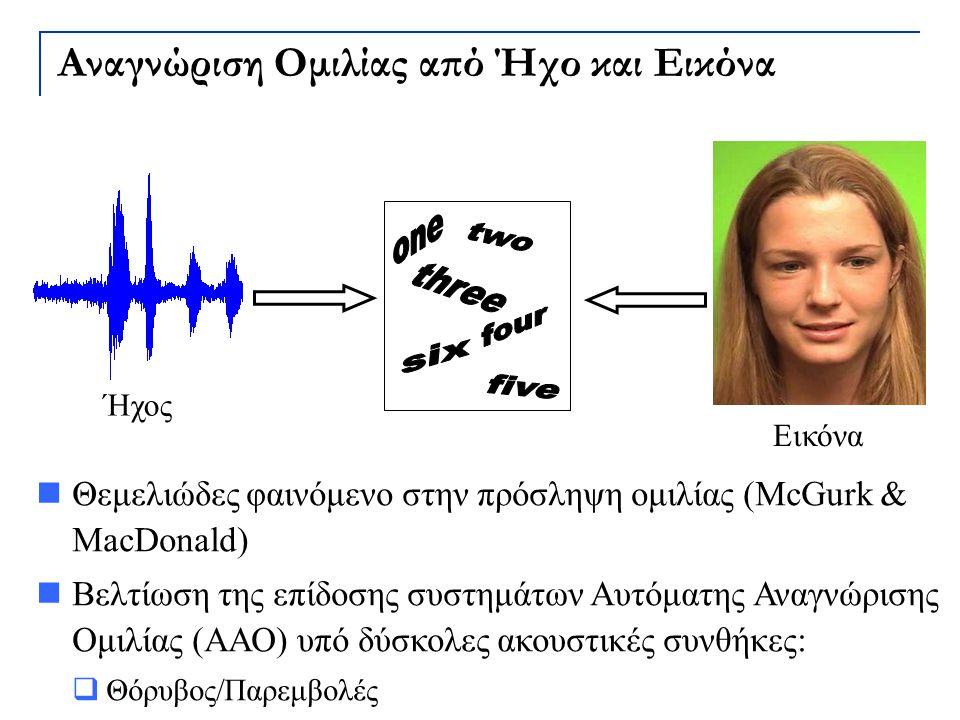 Αναγνώριση Ομιλίας από Ήχο και Εικόνα Θεμελιώδες φαινόμενο στην πρόσληψη ομιλίας (McGurk & MacDonald) Βελτίωση της επίδοσης συστημάτων Αυτόματης Αναγν