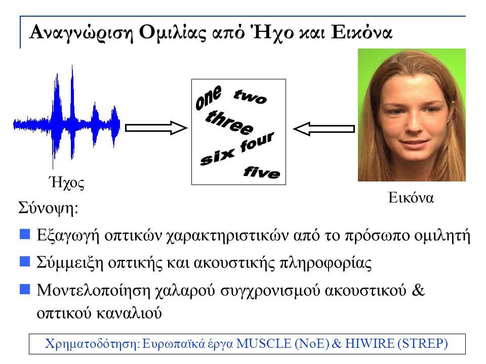 Αναγνώριση Ομιλίας από Ήχο και Εικόνα Σύνοψη: Εξαγωγή οπτικών χαρακτηριστικών από το πρόσωπο ομιλητή Σύμμειξη οπτικής και ακουστικής πληροφορίας Μοντε